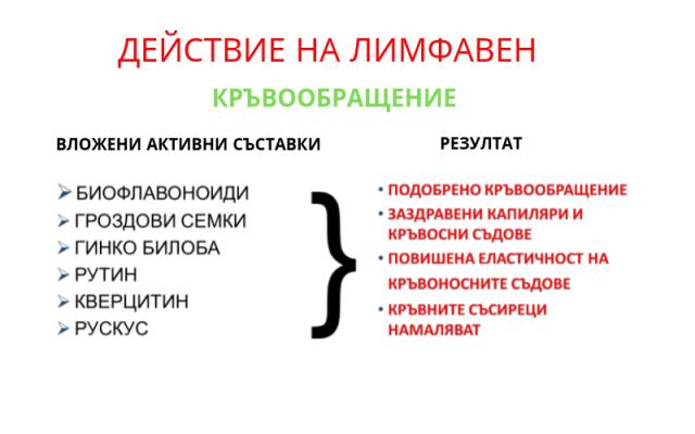 Действие на Лимфавен 1 - Кръвообращение