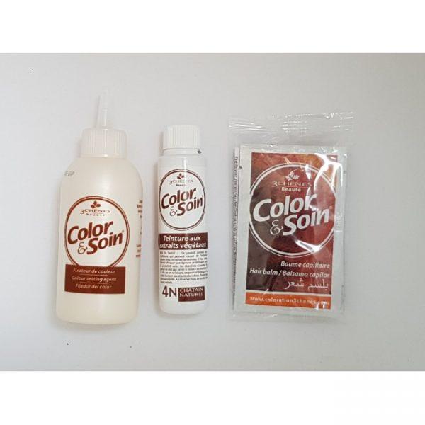 Съдържание на пакет боя за коса Color&Soin 4N Кестеняв