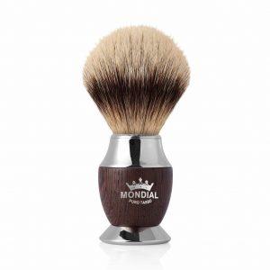 Четка за бръснене с косъм от язовец и ръкохватка от хромиран метал и дърво - цвят Венге
