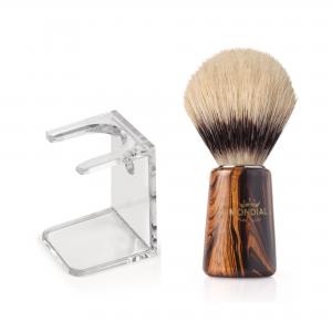 Четка за бръснене с естествен косъм с подарък поставка
