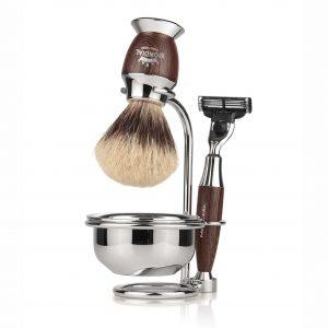 Комбинирана с купа метална поставка за бръснарска четка и бръснач. Ръчна изработка.
