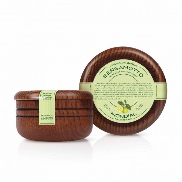 Луксозен твърд крем за бръснене MONDIAL1908 в купа от естествено дърво