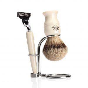 Метална поставка за бръснарска четка, комплект с бръснач - ръчна дизайнерска изработка.