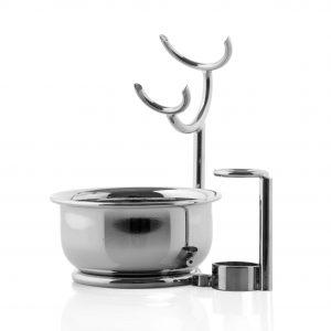 Наклонена стойка за бръснарска четка, място за бръснач и хромирана купа - ръчна изработка.