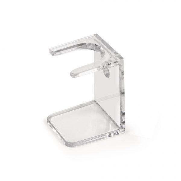 Пластмасова поставка за четка за бръснене с възможност за поставяне на стена чрез залепване.